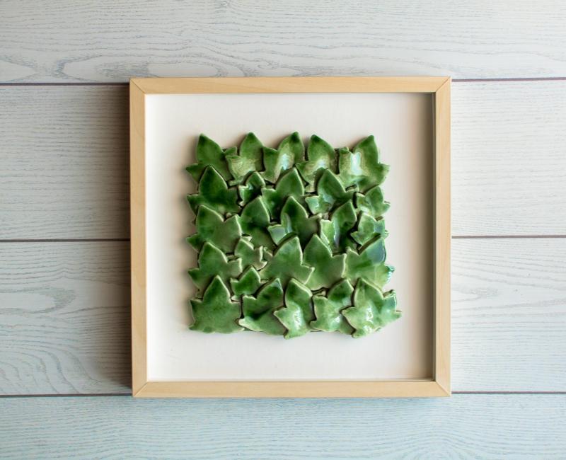 Foglie Verdi con cornice legno