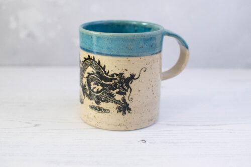 mug azzurra drago